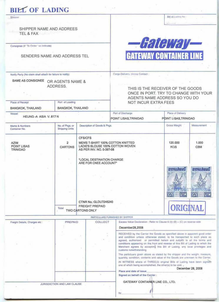 Bill of Lading Sample